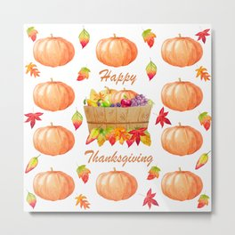 Watercolour Pumpkin Turkey Pattern Happy Thanksgiving Metal Print