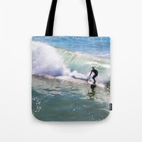 surfer Tote Bags featuring Surfer by Sam Cockayne