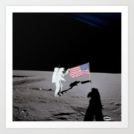 Apollo 12 - Astronaut American Flag Moon Art Print
