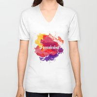 feminism V-neck T-shirts featuring Feminism Watercolor by Pia Spieler