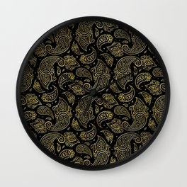 Golden Embossed Paisley pattern on black Wall Clock