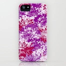 marguerites and chrysanthemums in purple mood iPhone Case