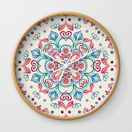 Pastel Blue, Pink & Red Watercolor Floral Pattern on Cream Wall Clock