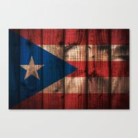 puerto rico Canvas Prints featuring puerto rico wood background by franckreporter