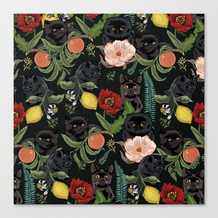 Botanical and Black Cats Leinwanddruck