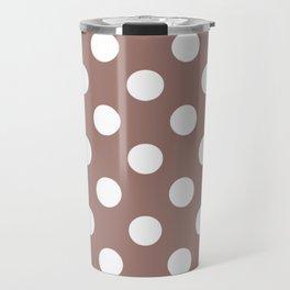 Burnished brown - violet - White Polka Dots - Pois Pattern Travel Mug