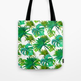 Abstract hand painted forest green watercolor tropical leaves Tote Bag