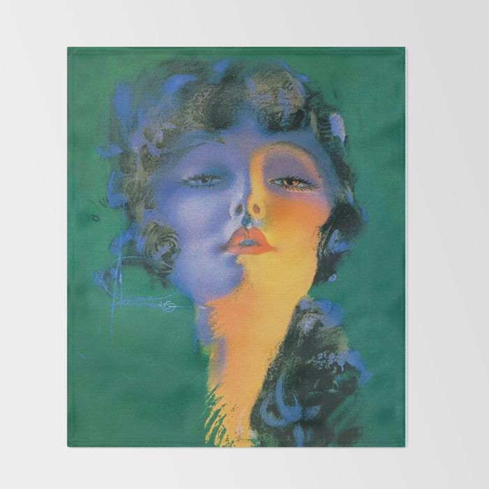 """Girl of My Dreams"" Pinup by Rolf Armstrong Throw Blanket"