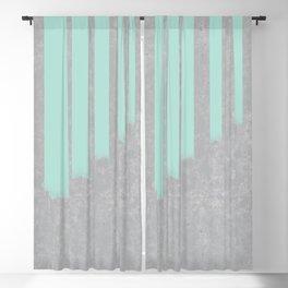 Soft cyan stripes on concrete Blackout Curtain