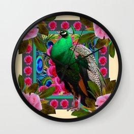 GREEN PEACOCK & PINK ROSE  FLOWERS CREAM ART Wall Clock