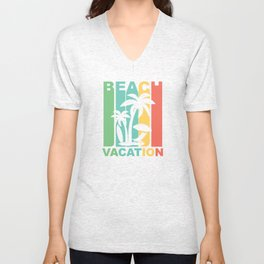 Vintage 1970's Style Beach Vacation Graphic Unisex V-Neck
