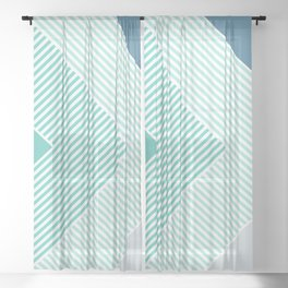Teal Vibes - Geometric Triangle Stripes Sheer Curtain