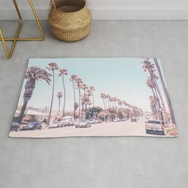 California Sidewalks // Blue Ocean Skyline Roadside Palm Trees Tropical Hollywood Paradise Rug
