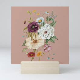 Colorful Wildflower Bouquet on Pink Mini Art Print