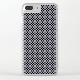 Lilac Gray and Black Polka Dots Clear iPhone Case
