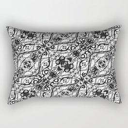 Black and White Ornate Pattern Rectangular Pillow