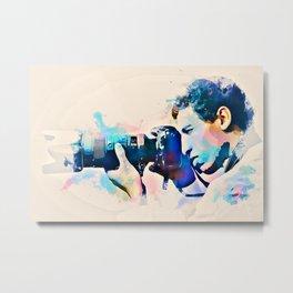 Watercolor Photographer Camera Man Metal Print