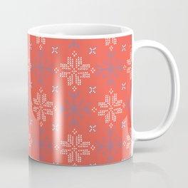 Embroidery Snowflake Stitches Seamless Vector Pattern. Cross Stitch Coffee Mug