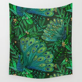Peacocks in Emerald Forest Wall Tapestry