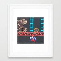 donkey kong Framed Art Prints featuring Donkey Kong & Jumpman by ChristianTyner