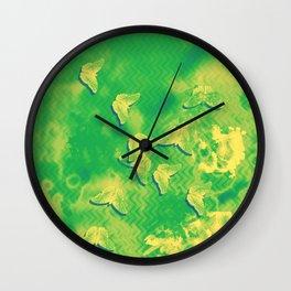 Yellow butterflies on textured green chevrons Wall Clock