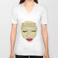 bjork V-neck T-shirts featuring BJORK by Casey Sullivan