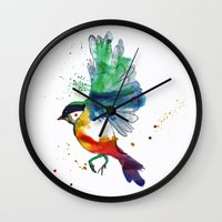 birdy Wall Clocks featuring Birdy by Annaleigh Louise