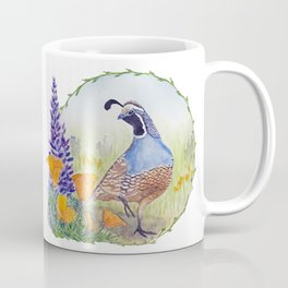 California Quail with Poppies and Lupine Coffee Mug