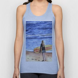 Girl with Surfboard Standing on the Beach Unisex Tank Top