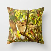 sparrow Throw Pillows featuring Sparrow by Judy Palkimas