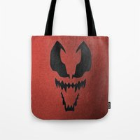 venom Tote Bags featuring Venom by Beastie Toyz