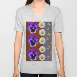 BROWN & PURPLE PANSY WHITE DAISY BUTTERFLIES SPRING Unisex V-Neck