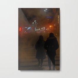 Couples on Street at Night Metal Print