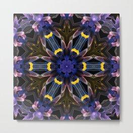 flower mandala blue purple Metal Print