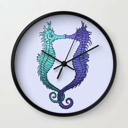 Kissing Seahorses - blue Wall Clock