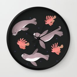Sea lion & Lionfish Wall Clock