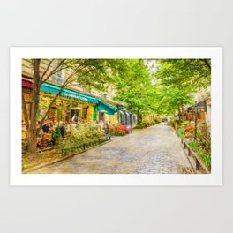 Paris, France in the spring watercolour style oil-paint Art Print