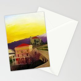 Coast of Sicily and Mount Etna springtime landscape painting by Csontváry Kosztka Tivadar Stationery Cards
