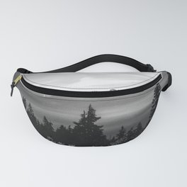 Morning in the Mountains Black and White Fanny Pack