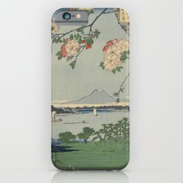 Cherry Blossoms on Spring River Ukiyo-e Japanese Art iPhone Case
