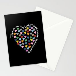 Hearts Heart Teacher Black Stationery Cards