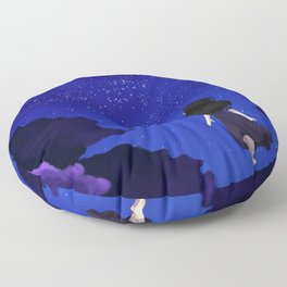 Behold the Galaxy - Anime Girl looking at the Stars Floor Pillow