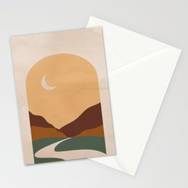Abstract Mountain and Moon Stationery Cards