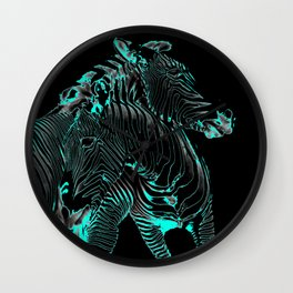 Turquoise Inverse Zebras Wall Clock