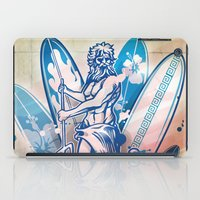 surfboard iPad Cases featuring poseidon surfer on surfboard by Doomko