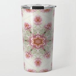 Pink Chrysanthemums Kaleidoscope Art 4 Travel Mug
