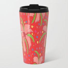 Red Tropical Fiesta Floral Print Travel Mug