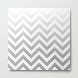 Silver Ombre Chevron Metal Print