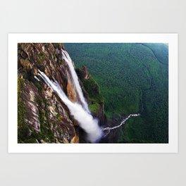 Angel Falls Auyan-tepui landscape painting Art Print