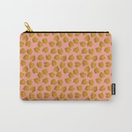 Gold Metallic Foil Monstera Leaves on Peachy Pink Carry-All Pouch